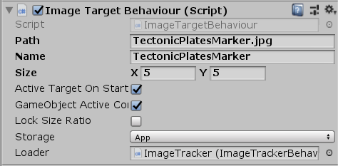Image Target script for Unity AR project