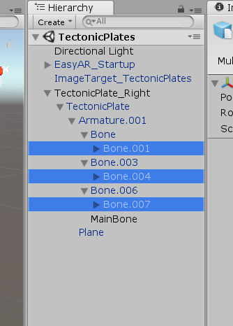 3 Bones objects highlighted for Tectonic Plates in Unity AR project