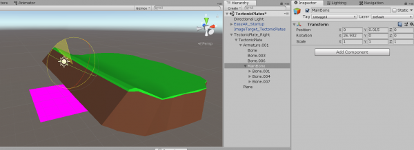Ground model edited with bone object in Unity