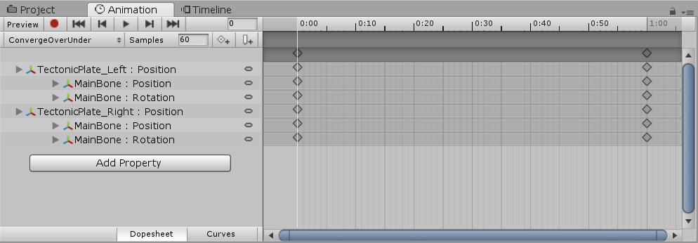 Unity animation timeline with tectonic plates
