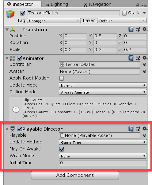 Unity Inspector with Playable Director highlighted