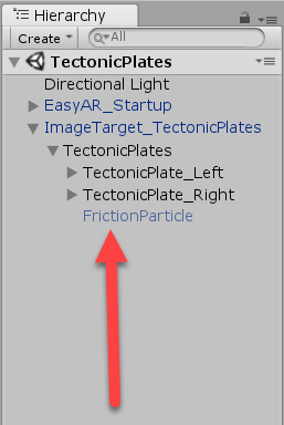 Friction Particle object highlighted in Unity Hierarchy
