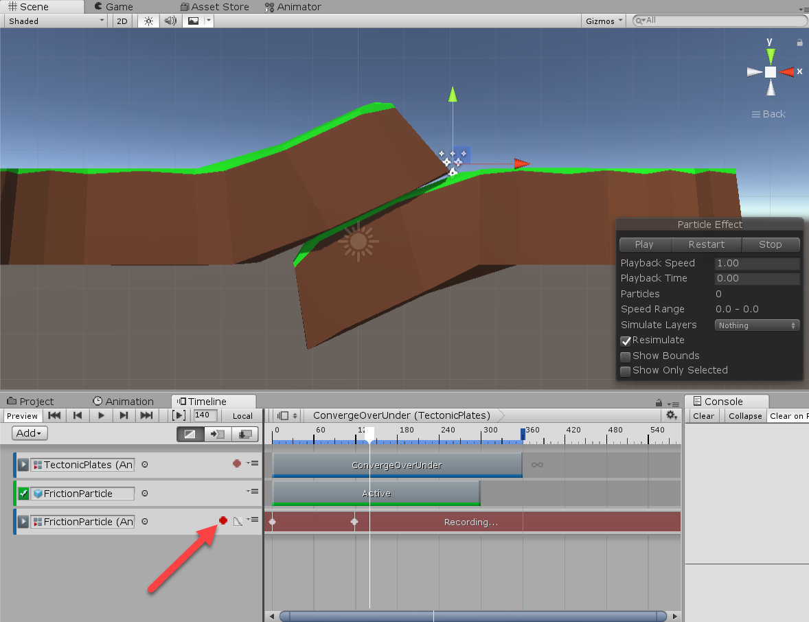 Friction Particle object as seen in Unity Timeline