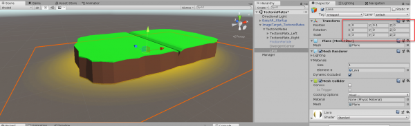 Lava object in Unity with Transform component highlighted