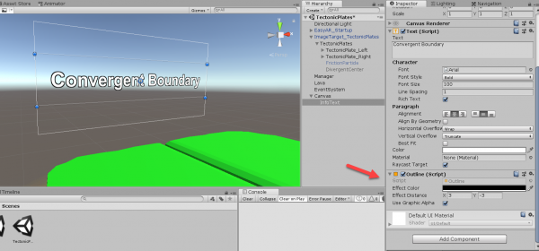 Unity canvas with tectonic plate text object added