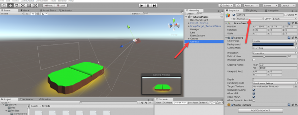Unity Camera object as seen in Hierarchy and Inspector