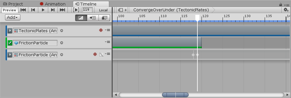 Unity animation timeline for convergent tectonic plates