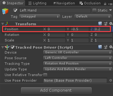 Unity Left Hand object with position highlight in Inspector