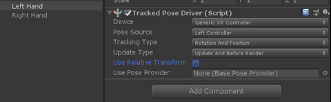 Unity Tracked Pose Driver script component with Use Relative Transform unchecked