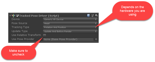 Tracked Pose Driver Script Component in Unity