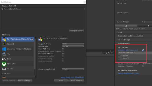 Unity Build Settings with XR Settings highlighted