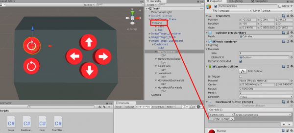 Crane object in Unity Hierarchy being added to Dashboard button script