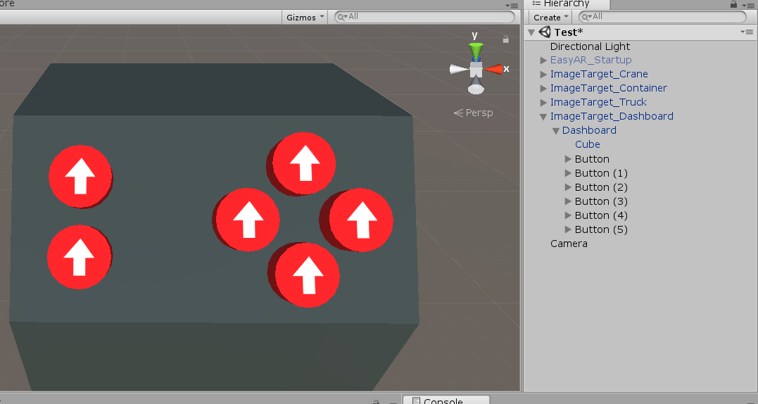Crane dashboard with various buttons added in Unity