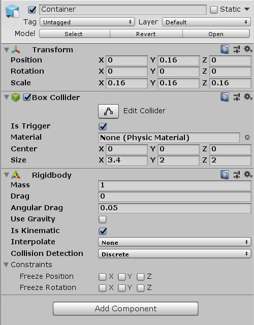 Container object in Unity Inspector with Rigidbody