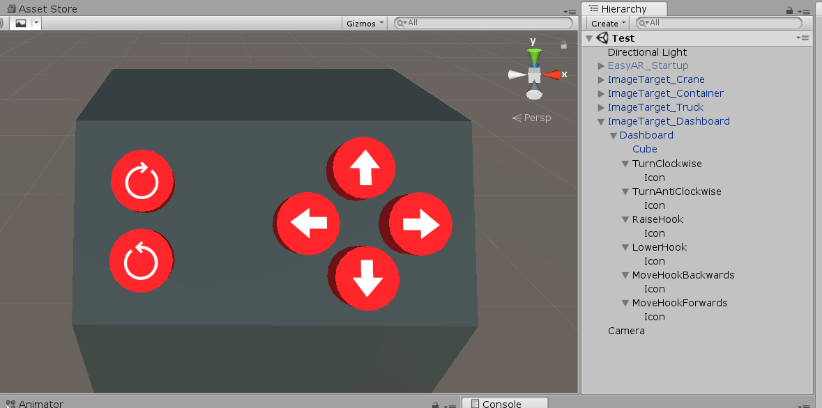 Crane dashboard with buttons in Unity