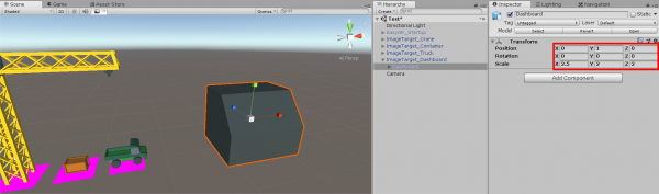 Unity crane app scene with dashboard object added
