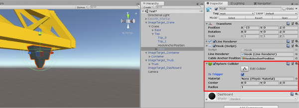 Unity crane object with Sphere Collider added