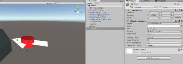 Arrow cutting through dashboard button object in Unity