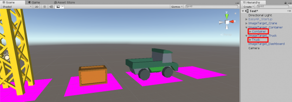 Container and Truck objects in Unity Crane app
