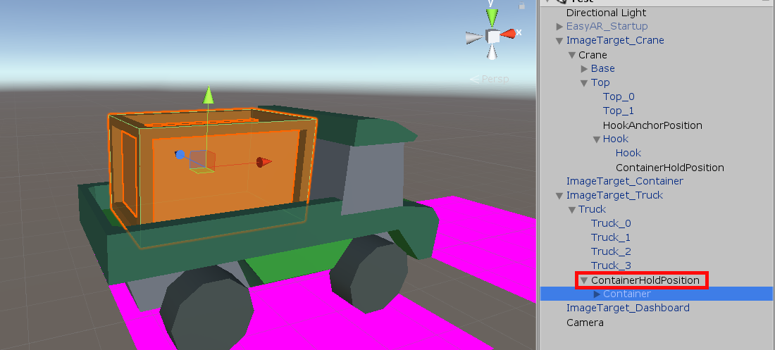 Container object on truck object in Unity crane app
