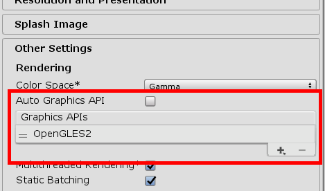 Graphics APIs with OpenGLES2 added in Unity's other settings
