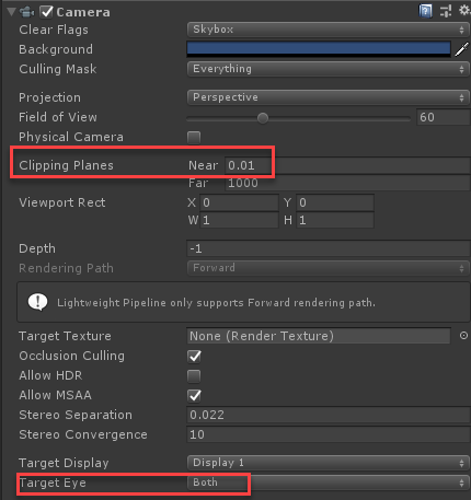 Camera component as seen in Unity