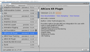 ARCore XR Plugin package information in Unity
