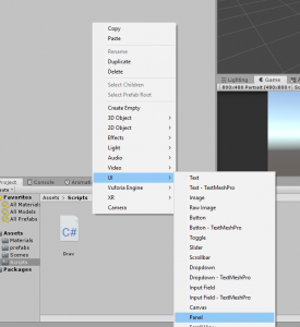 Unity UI menu with UI Panel selected
