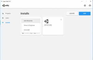 Unity Hub with Installs shown