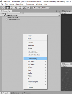 Unity Hierarchy with Create Empty selected from right click menu