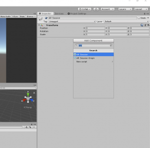 Unity Inspector with AR Session selected from Add Component