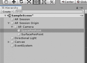 SpacePenPoint object in Unity Hierarchy