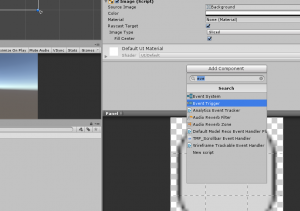 Unity Event Trigger Component highlighted