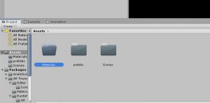 Materials folder selected in Unity