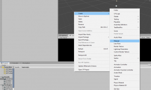 Unity menu process to create new material