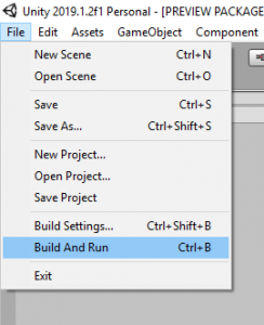 Unity File Menu with Build And Run selected