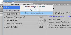 Unity Packages window with Show preview packages selected