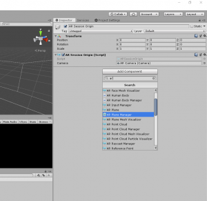 Unity Inspector with AR Session Origin component selected
