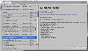 ARKit XR Plugin information within Unity