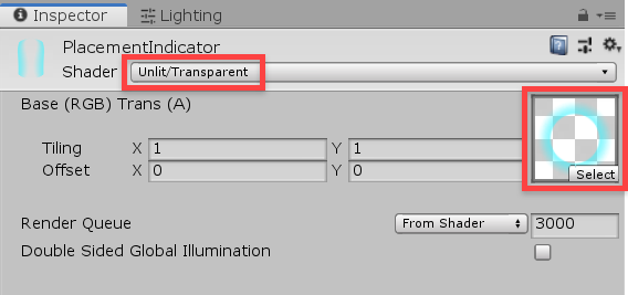 Unity inspector material