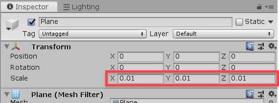 Unity inspector plane scale