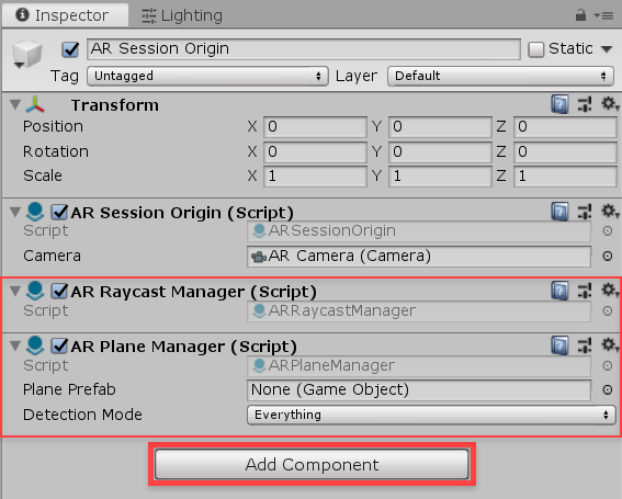 Unity inspector ar session origin