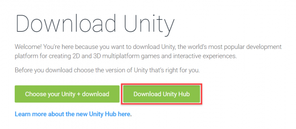 Download Unity Hub