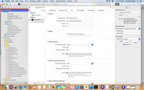 Xcode project unity