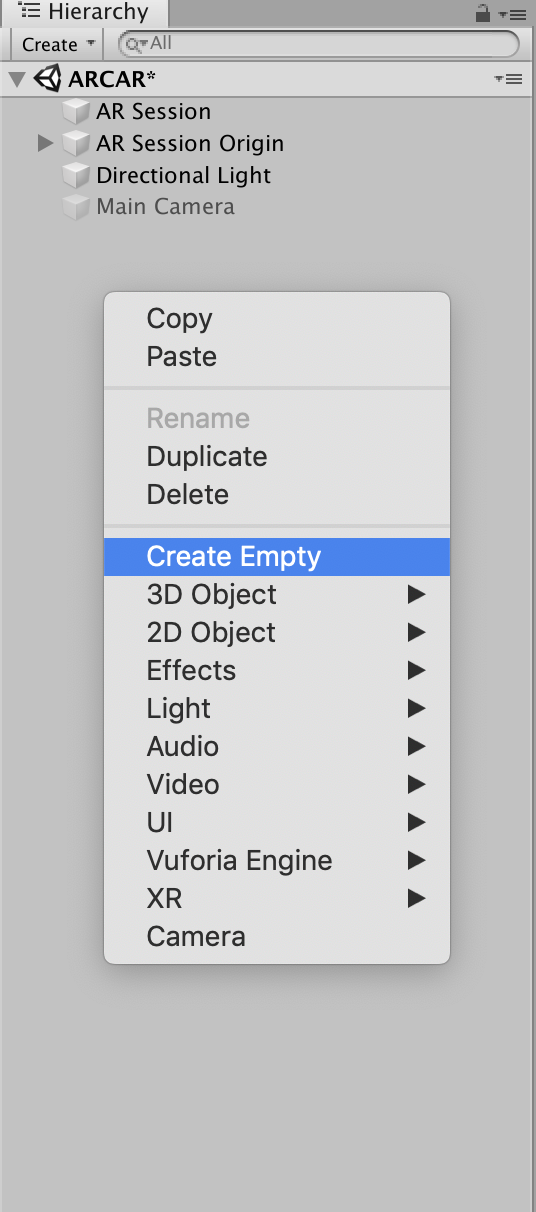 Unity menu with Create Empty selected
