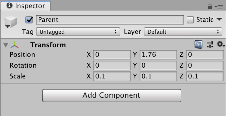 Unity Inspector Component for Parent object