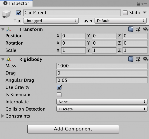 Unity Inspector window with Rigidbody for Car Parent object shown