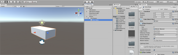 Unity with rectangle box object added to scene
