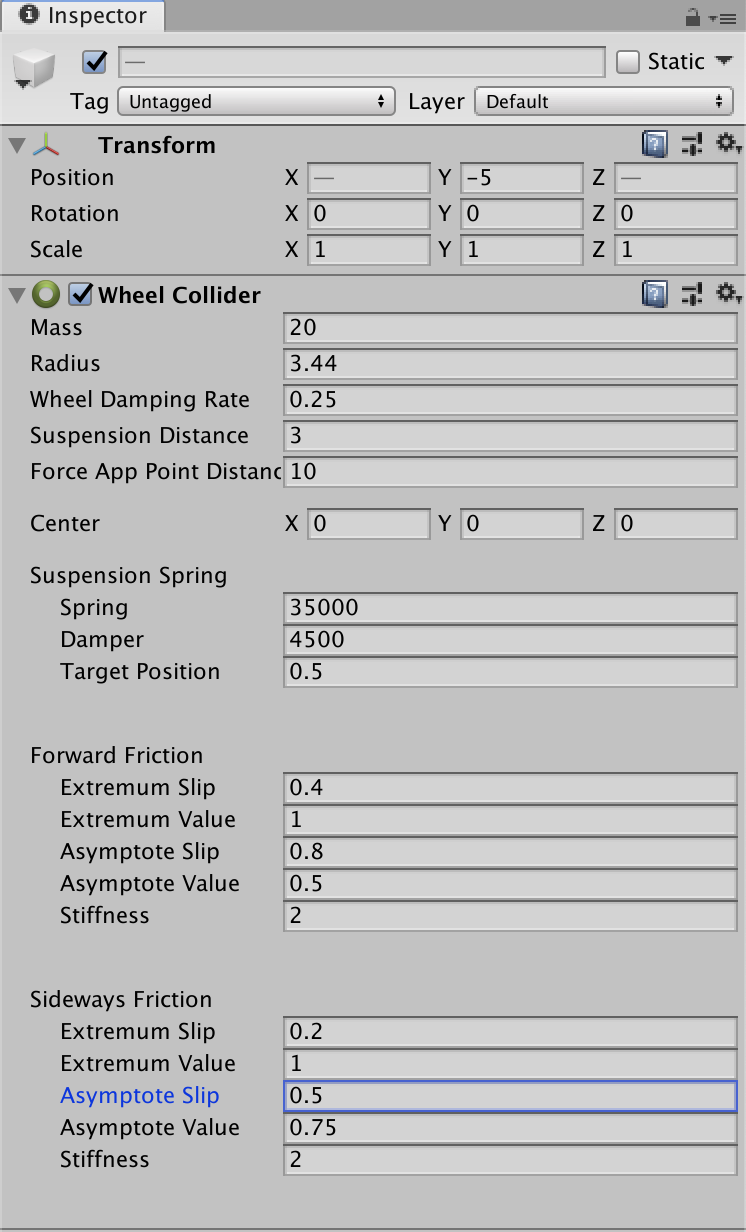 Unity Wheel Collider's Asymptote Slip adjusted to 0.5