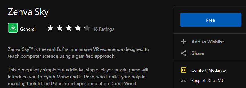Zenva Sky reviews in Oculus Store